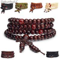 bracelets bouddhistes achat en gros de-Pulseras 108 Perles 6mm Naturel Bois De Santal Bouddha Bouddha Bois Prière Perle Mala Unisexe Hommes Bracelets Bracelets Bijoux Bijoux