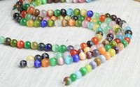 Wholesale cat eye glasses jewelry resale online - 4mm mm mm mm mm mm mm multicolor cat eye loose round glass beads string FOR NECKLACE BRACELET DIY JEWELRY MAKING