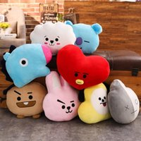 Wholesale blue decor pillows resale online - 35 Cm Cute Cartoon BT21 Plush Doll Toy Bangtan Boys Throw Pillow Cushion Boys Throw Pillow Perfect for Sofa Home Decor