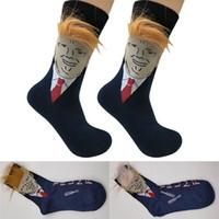peúgas atléticas da tripulação venda por atacado-New Cotton Trump Mens Socks engraçado Imprimir adultos tripulação mediana meias com 3D falsificados Natal Cabelo Atlético Sport Tênis de basquete Meias Início WX9-1383