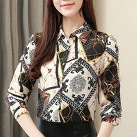 ingrosso seta chiffona coreana-Magliette e camicette da donna Camicetta di seta Camicie a maniche lunghe da donna Blusas Femininas Elegante Abbigliamento moda coreano Plus Size XXXL