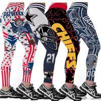 Wholesale yoga pants leggings resale online - 57 Colour S XL Rugby Teams Leggings Womens Match Raider Sporting Slim Fitness Legging Fitness D Print High Elastic High Waist yoga Pants