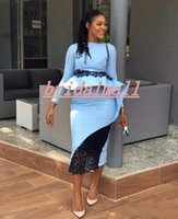 Wholesale african prom dresses resale online - Plus Size Blue Long Sleeves Evening Dresses Saudi Arabia Tea Length Formal Party Gowns Draped Peplum Holiday Outdoor African Prom Dress