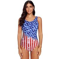 traje de baño bandera damas al por mayor-Señoras de una sola pieza Ombre Estrellas de la bandera americana Impresión de rayas Playa Traje de baño Verano Alto elástico Sólido Cruz Volver Traje de baño Breast Pad Bikini