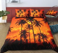 Wholesale designer double beds for sale - Group buy Designer Bedding Set Sunset Magnificent Coconut Trees King Size Duvet Cover Single Full Twin Double Queen Bed Cover with Pillowcase