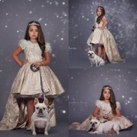Wholesale ball gown wedding dress tiered for sale - Group buy New Arrival Flower Girls Dresses Halter Neck A Line Gold Beads Crystals Top Long Toddler Kids Formal Party Prom Girls Pageant Dresses