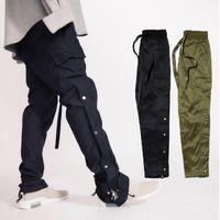 hip hop zip pantolon toptan satış-Tanrı korkusu Yeni Pantolon Ayak Bileği-Zip Düğmeleri Yan Rahat Sweatpants Kanye West Hip Hop Dipleri Erkekler Siyah Ordu Yeşil Kargo Parça Pantolon MQI0506