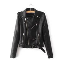 ingrosso giacche da biker per le donne-2019 donne moda colori vivaci femminile nero cappotto moto breve giacca in pelle sintetica per motociclisti giacca morbida