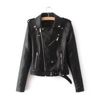 vestes en faux cuir motard achat en gros de-2019 Femmes De Mode Couleurs Lumineuses Femme Noir Moto Manteau Court En Cuir Faux Biker Veste Veste Souple