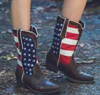 zapatos de punta americana al por mayor-XingDeng Mujeres Bandera americana Punta puntiaguda Primavera Western Cowboy Boots Damas Punk Moto Botines de montar Zapatos Tamaño 34-43