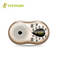 radyo anteni kur toptan satış-HYASIA Taşınabilir Mini FM Radyo Dahili Anten Ses LCD FM Radyo Hoparlör USB TF Kart Mp3 Müzik Çalar 3.5mm Ebeveynler Için Gif