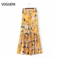 Vogue!new Womens Sexy Floral Print High Waist Pleated Button Down Midi Skirt 6 Colors C19041601