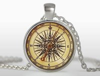 Wholesale nautical link necklace resale online - New fashion pendant necklace Old Compass Pendant Vintage Compass Jewelry Colar Nautical Gifts for Travel Lover Long Compass Necklace Wholes