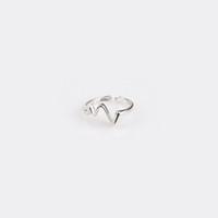 сердце кольцо корейское оптовых-Корейская Молния ЭКГ Серебряное Сердцебиение Темперамент Кольцо Личность Мода Творческий Открытие Сердца Сустав Кольца Женщины Ювелирные Изделия
