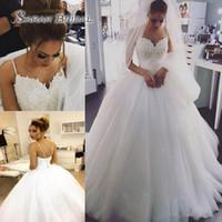 Wholesale wedding dresses elegant bride for sale - Elegant Beaded Pearls Tulle A Line Boho Wedding Dresses Spaghetti Straps Bridal Dresses Plus Size Weding Gowns For Brides Vestidos