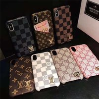 Wholesale iphone 6s plus for for sale – best One Piece Luxury Grid PU Leather Cover for iPhone X XR XS MAX Plus S Designer Fashion Sign Phone Back Cover Case