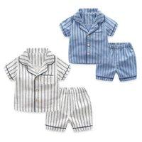 underwear de criança menino marca venda por atacado-2 pçs / lote verão crianças pijamas listrado algodão pijamas roupa do bebê set para meninos roupa interior crianças ternos camisa + calções