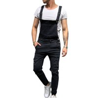 14e26e50950 ... Jumpsuits Trousers Distressed Hole Denim Bib Overalls For Man Skinny  Slim Pants Size S-XXL. 34% Off
