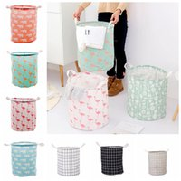 Wholesale foldable barrel resale online - Foldable Laundry Storage Basket Styles Flamingo Bear Printed Clothes Storage Bag Kids Toys Organizer Home Sundries Storage Barrel OOA6832