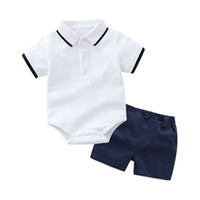 Wholesale baby boys clothes online - New design baby boys fashion summer outfits romper solid color short pants set infant boutique clothes