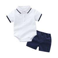 nuevo pantalón de diseño corto al por mayor-Nuevo diseño baby boys fashion summer outfits mameluco + pantalones cortos de color sólido 2pcs / set ropa boutique infantil