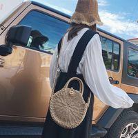 ручной вязки трикотажные сумочки оптовых-Круглый соломенный мешок ручной работы ротанг тканые старинные ретро соломы веревки трикотажные женские Crossbody сумки свежий летний пляжная сумка Богемия