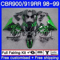 1998 cbr 919 kaplama kiti toptan satış-HONDA CBR 900RR CBR 919RR CBR900RR için gövde CBR919RR 98 99 278HM.0 CBR900RR CBR 919 RR CBR919 RR 1998 1999 Marangoz takımı Yeşil alevler siyah