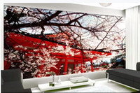 Wholesale japanese garden trees for sale - Group buy modern living room wallpapers Japanese style garden cherry blossom tree beautiful landscape background wall