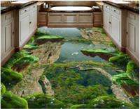 feuerfeste tapete großhandel-Malerei PVC-Tapete Forest Valley Berggipfel Stereo Bad Küche 3D-Bodenaufkleber 3D-Tapetenwände