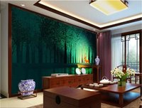Wholesale traditional kitchen lights for sale - Group buy 3d room wallpaper custom photo mural Green light dark night forest moody elk TV sofa background wall art pictures wallpaper for walls d