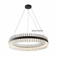 ingrosso cristalli di lampadari in bronzo-I moderni lampadari a led nel soggiorno illuminano il lampadario di cristallo per la sala da pranzo appesa a cerchio di lampade cristal luce oro-bronzo