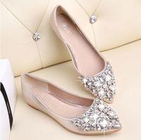 zapatos de ballet de boda al por mayor-Moda mujeres zapatos de ballet de ocio de primavera bailarina puntiaguda bling Rhinestone pisos zapatos princesa brillante boda de cristal
