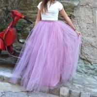 lila flauschige röcke großhandel-Bodenlangen Hochzeit Tüll Rock Überrock Mädchen Lila Fluffy Adult Tutu Dance Mesh Rock Petticoat Faldas Saias Jupe