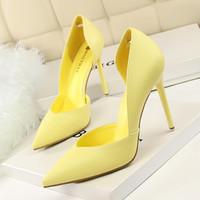 ingrosso scarpe gialle bride-Scarpe con tacco alto concise per donna Scarpe Scarpe con tacco sottile bianche gialle Scarpe da donna Moda Sexy Sposa da sposa Pompe a stiletto
