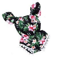 Wholesale flower plant spring resale online - Kids Jumpsuits Girls One shoulde Without Hooded Short Sleeve Rompers Flower Sweet Small Ball Polyeste Cotton Plant