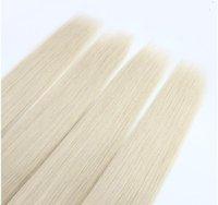 extensões de cabelo de cor da platina venda por atacado-Cabelo Loiro Platinum Malaio Feixes de Cabelo Em Linha Reta 100% Cabelo Humano Weave 10-28 Polegadas Unprcessed Dupla Trama Remy Extensões de Cabelo