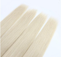 Wholesale platinum blonde remy hair extensions resale online - Platinum Blonde Color Malaysian Straight Hair Bundles Human Hair Weave Inchs Unprcessed Double Weft Remy Hair Extensions