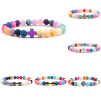 Wholesale agate wrap resale online - New Rainbow Weathered agate beaded bracelets with Cross Dumbbell charm Natural stone beads Wrap elastic Bangle For women Men DIY Jewelry