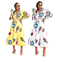 Wholesale ladies white blouse short sleeve resale online - Women s Elegent Shirt and Pleated Long Dress Set Big Eyes Lips Printed Ladies Blouse Skirt Two Piece Suit Outfits Long Sleeve Cloth C71704