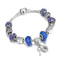 boncuk zinciri balık tutma toptan satış-Kadın Moda Kristal mavi Boncuk Bilezik Charm BraceletBangles Kolye gökkuşağı anahtar kalp balık Zincir toka Takı Aksesuarları