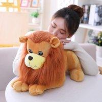 aslan dolması hayvan toptan satış-Peluş oyuncak aslan Gerçekçi Aslan Arkadaş Açık Kahverengi çocuk Peluş Doldurulmuş Hayvan Oyuncak L717