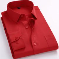 blaues langärmeliges kleid großhandel-Mens Business Casual langärmeliges Hemd Klassisch Weiß Schwarz Dunkelblau Männliche Sozialhemden Plus Größe 8XL 7XL 6XL 5XL