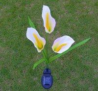 calla lilie licht großhandel-Solar Calla Lily Flower Led Beleuchtung Solarbetriebene Blume Pfahl Garten LED-Leuchten für Patio Yard Weihnachten Pathway Dekoration