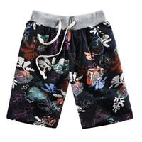 erkekler için keten modası toptan satış-Erkek Plaj Kısa Yumuşak Spor Yüzme Trunk Yaz Moda Rahat Etnik Stil Baskılı Gevşek Keten Plaj Şort Pantolon Paskalya