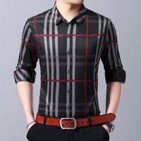 up hemdkleid groihandel-2019 Modemarkendesignerhemd Herren Kariertes Businesshemd Langarm Slim Fit Streetwear Kariert Lässig Button Up Herren Kleidung