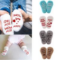 pies de niño al por mayor-4 estilos Carta Calcetines para bebés inglés Niños Calcetines de invierno recién nacidos Calcetines suaves para niños pequeños Calcetines casuales para bebés FFA2884