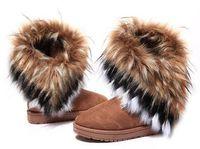 tamaño 42 botas de invierno mujer al por mayor-2019 Moda Piel de zorro Cálido Otoño Invierno Cuñas Nieve Mujer Botas Zapatos GenuinoI Mitation Señora Botas cortas Casual zapatos largos de nieve tamaño 36-42