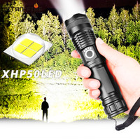 Wholesale 26650 flashlight battery resale online - LED XHP50 Ultra Bright Most Powerful Flashlight USB Zoom Led Torch XHP50 or Rechargeable Battery