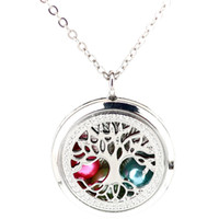 Wholesale floating locket pearls resale online - K1246 Pearl Beads Cage Silver mm Round Tree Of Life Magnetic Floating Locket quot Chain Pendants Women Charms