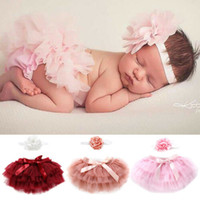 Wholesale panties infant resale online - Infant Baby Girl Newborn Tutu Lace Birthday Skirt Flower Headband Costume Pettiskirt Panties Bow Tutu Skirt